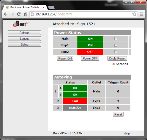 iBoot Screenshot.  Web Controlled Power Switch with AutoPing
